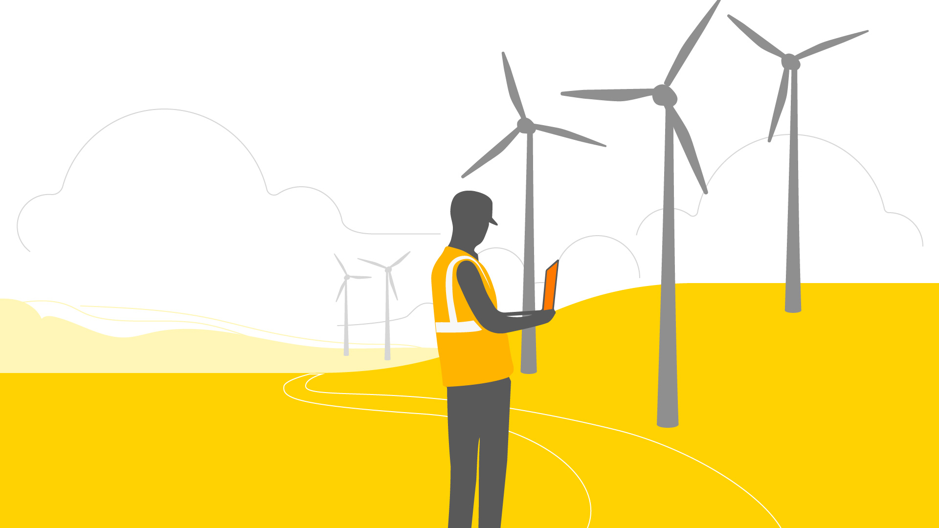 Illustration: Homme devant des éoliennes